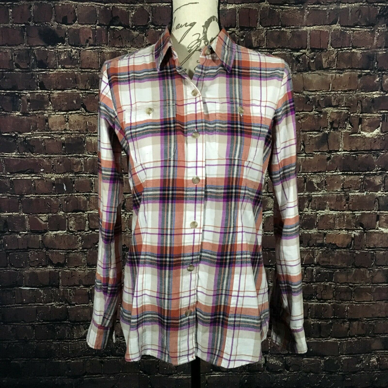 Eddie Bauer Women's Tall Stine's Favorite Packable Shirt Plaid Button Down SMALL