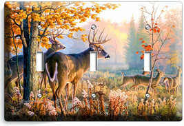 WHITETAIL DEER BUCK AUTUMN FOREST 3GANG LIGHT SWITCH WALL PLATE CABIN RO... - $17.99