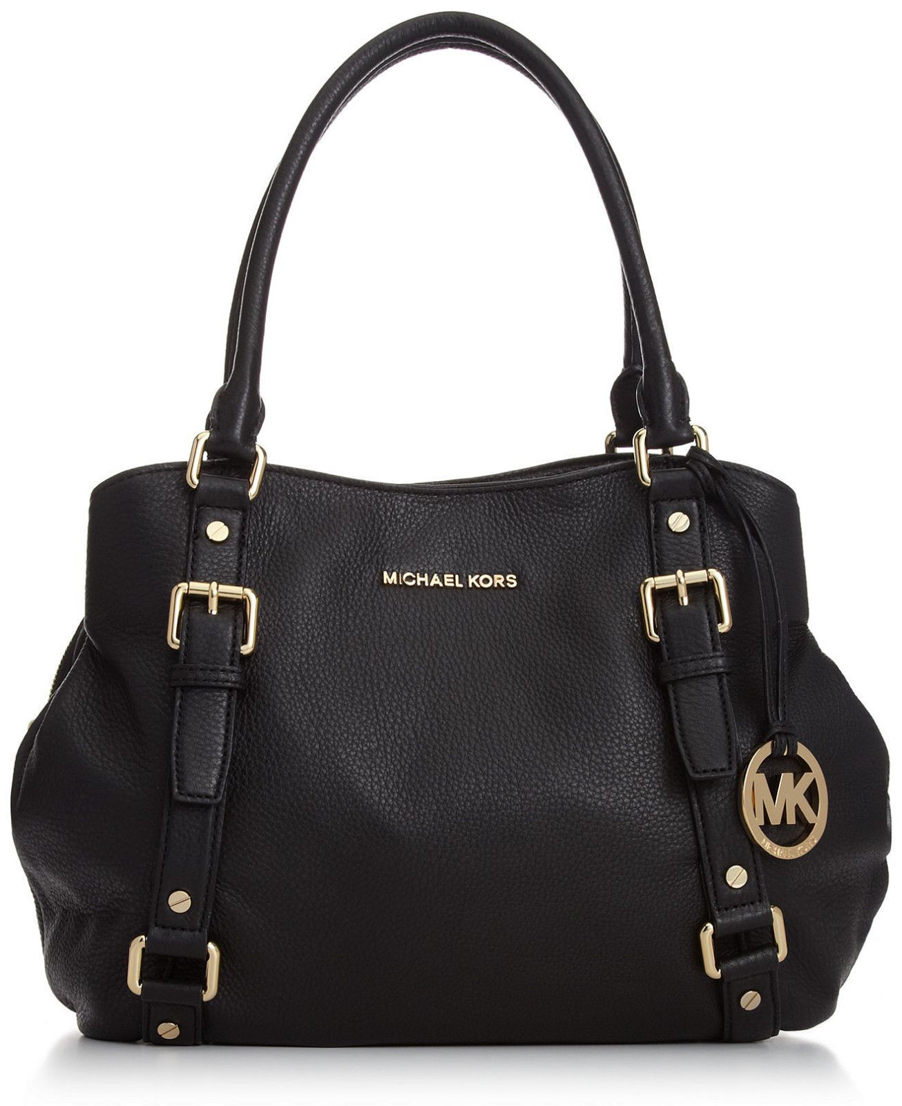 NWT MICHAEL MICHAEL KORS Bedford Large East/West Black Leather Satchel   ($428)