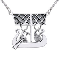 "Sterling Silver Viking Ship Designer Necklace 18"" - $107.46"