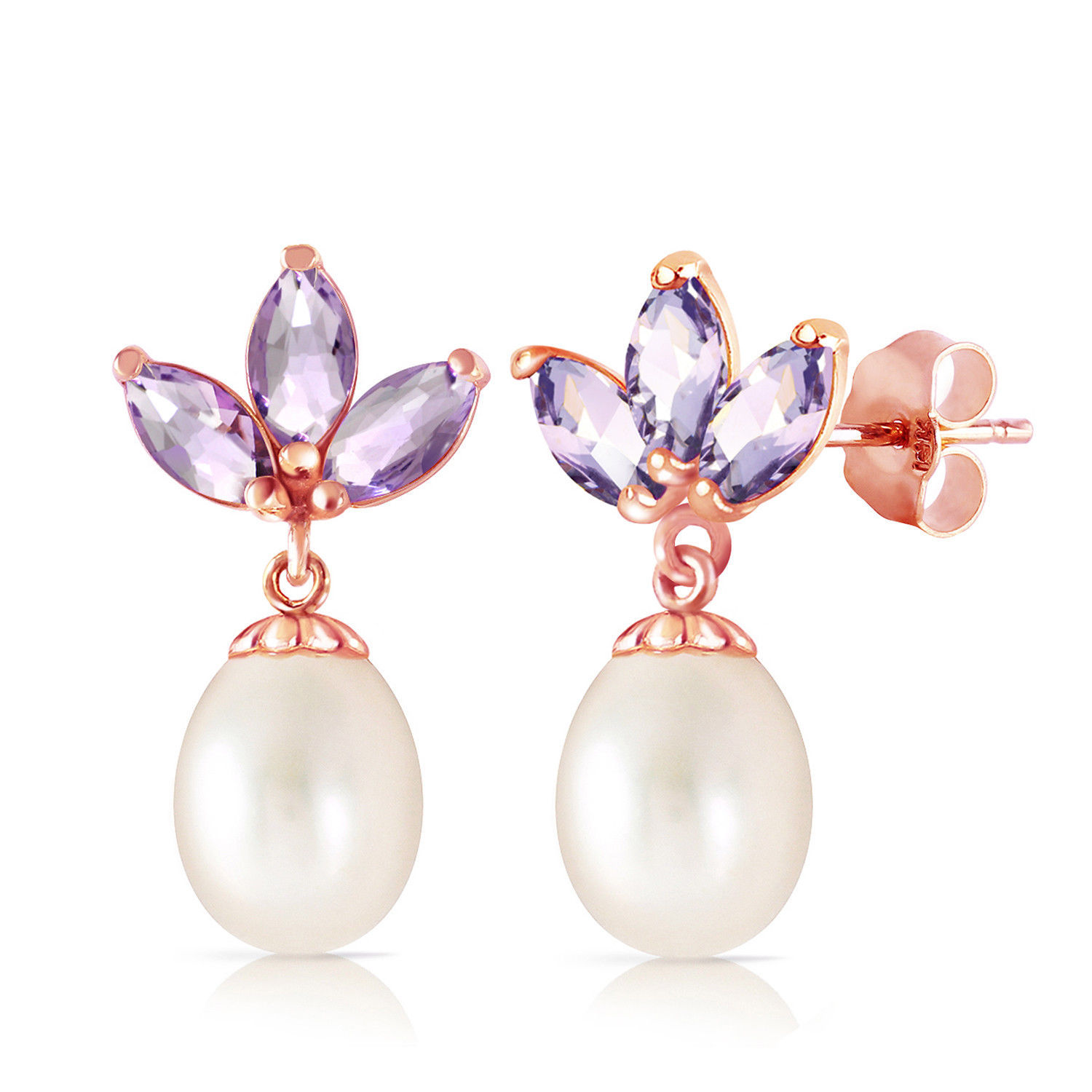 Primary image for 14K Solid Rose Gold Dangling Earrings with pearl & Tanzanite Fine Gemstone