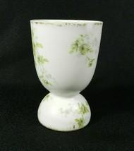 Theodor Haviland Egg Coddler Cup Limoges France White Green Floral Gold ... - $14.84