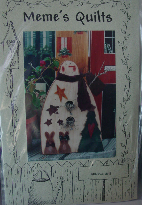 Primary image for Wood Pattern Bundle Up Decorative Snowman Figure, Painted (no size given)