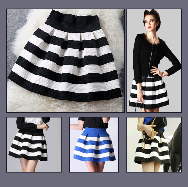 Pleated Fashion Stripe Short Skirt with Back Zip Up Black/White or Blue/White