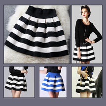 Pleated Fashion Stripe Short Skirt with Back Zip Up Black/White or Blue/White image 1