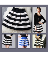 Pleated Fashion Stripe Short Skirt with Back Zip Up Black/White or Blue/... - $29.95