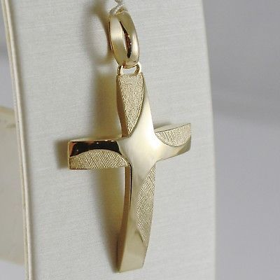 CROSS PENDANT YELLOW GOLD 750 18K, SQUARED, CURVED, SOLID, WORKED, ITALY