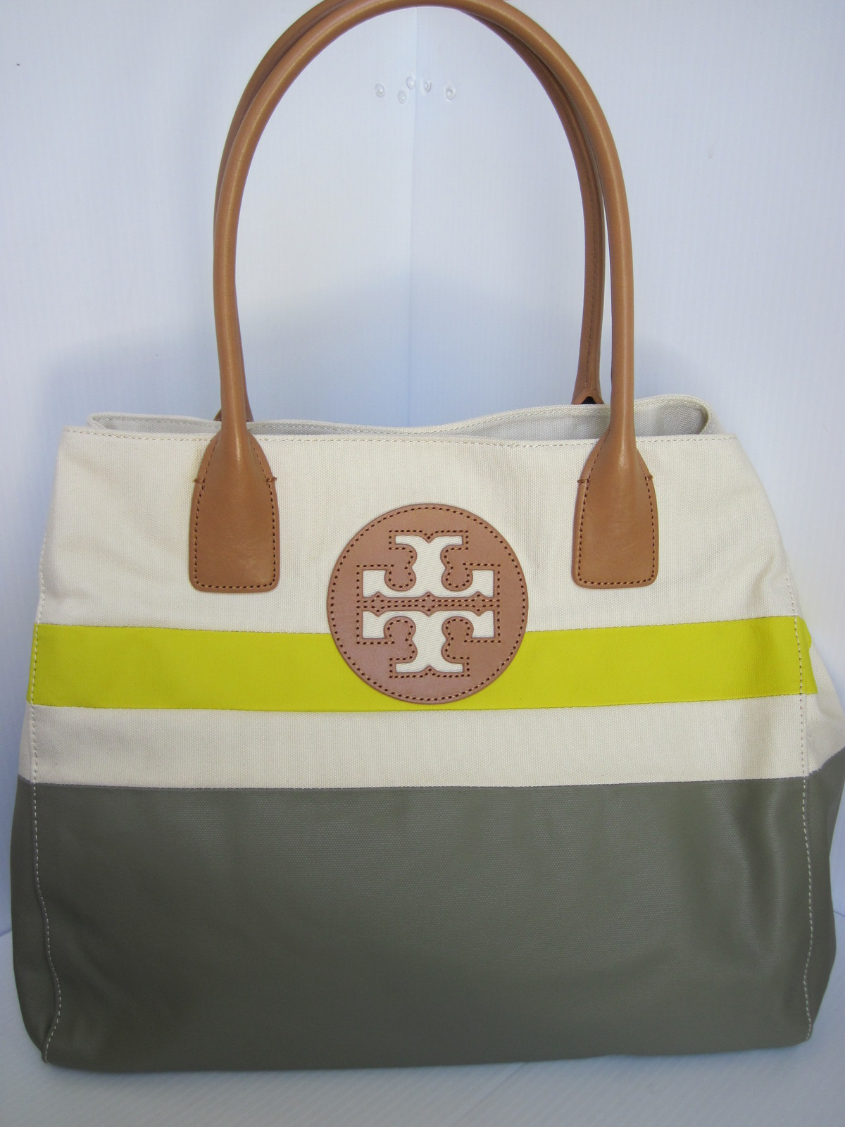 Tory Burch Canvas Dipped Beach Tote Shoppers Green Khaki