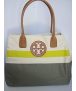 Tory Burch Canvas Dipped Beach Tote Shoppers Green Khaki - $151.18