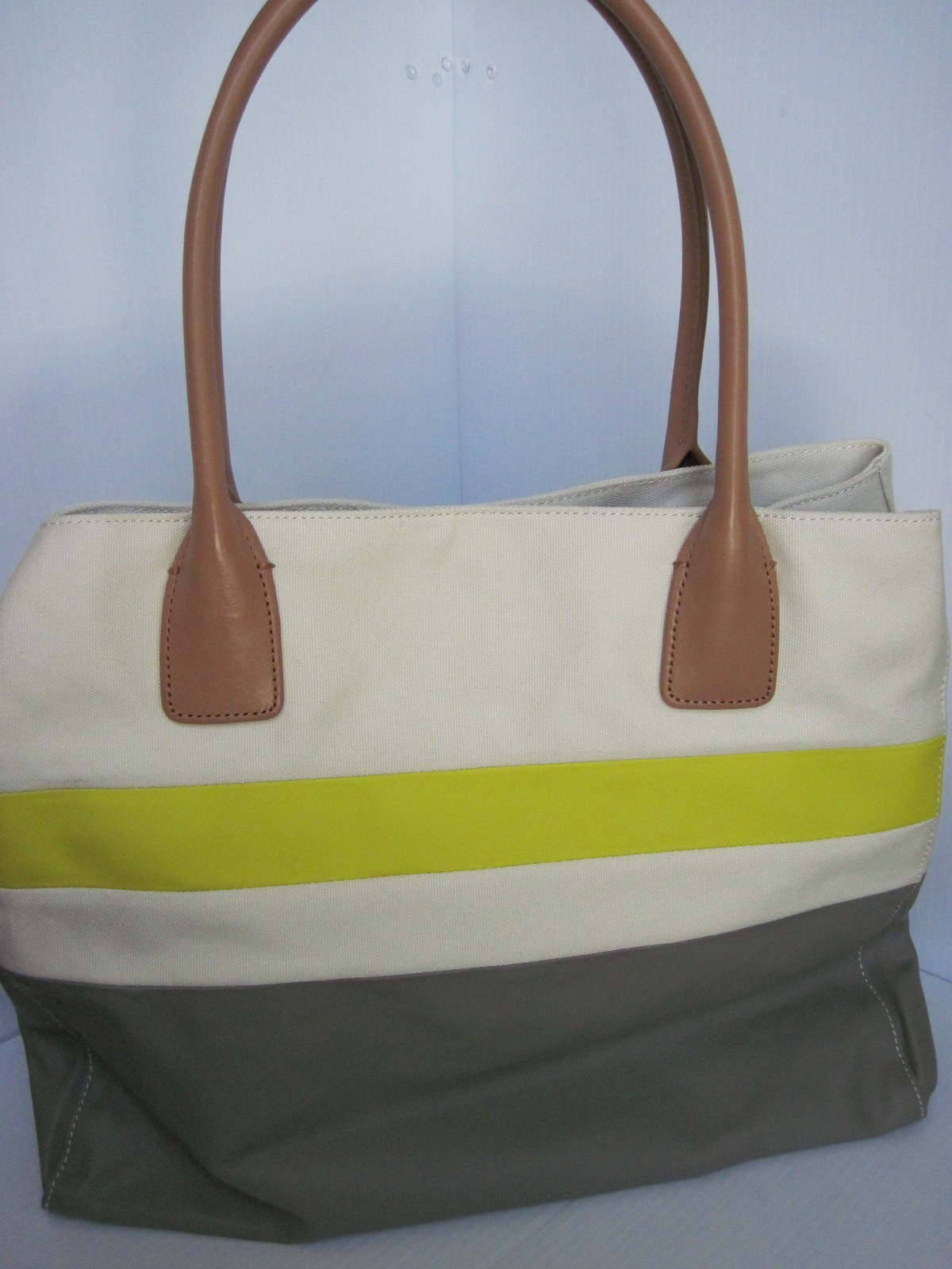 Tory Burch Canvas Dipped Beach Tote Shoppers Green Khaki image 3