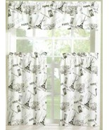 "3 Pc. Curtains Set: 2 Tiers (27""x36"") & Valance (54""x14"") PARIS,EIFFEL T... - $24.74"