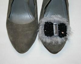 Rabbit Fur Shoe Clips, Black and Gray Clip for Shoes (2 piece), Shoe Acc... - $7.99
