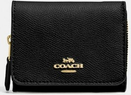 Coach Small Crossgrain Leather Black Trifold Wallet Midnight F37968 NWT - $59.99
