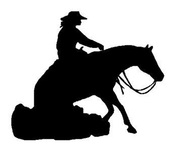 Lady on Reining Horse Decal  10 in Sticker Truck