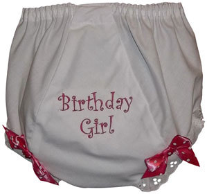 "Embroidered ""Birthday Girl"" Fancy Pants Diaper Covers"