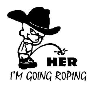 COWBOY PEEING ON HER GOING ROPING, HORSES DECAL