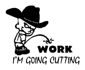 COWBOY PEEING ON WORK GOING CUTTING, HORSES DECAL