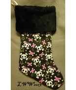 Handmade Black Pink Skull Crossbones Faux-Fur Holiday Christmas Stocking... - $12.99