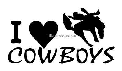 "I LOVE COWBOYS 6""X4"" DECAL FOR TRUCK,TRAILER,WINDOW"