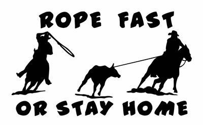 "ROPE FAST OR SAY HOME 5""X8.5in DECAL,STICKER,WINDOW ART"