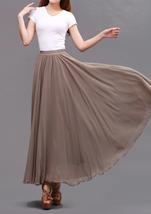 Taupe Maxi Chiffon Skirt Women Chiffon Maxi Skirts High Waist Bridesmaid Skirts image 4