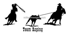 TEAM ROPING HORSE DECAL 13X29 INCH/TRUCK WINDOW,TRAILER - $20.00