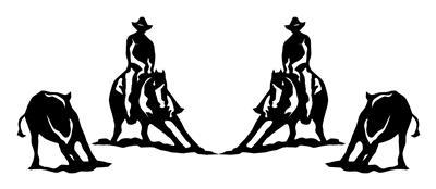 2 CUTTING HORSE DECALS 6X7 inch TRUCK,TRAILER,STICKER