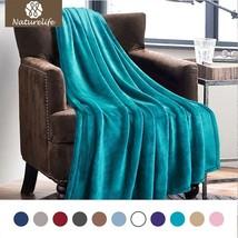Luxury Peacock Blue Throw Lightweight Cozy Plush Microfiber Solid Warm B... - €20,45 EUR