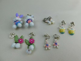 Vintage Lot Of 5 Pairs Bunnies Bunny Rabbit Clip On Earrings Dangle + Ot... - $19.59
