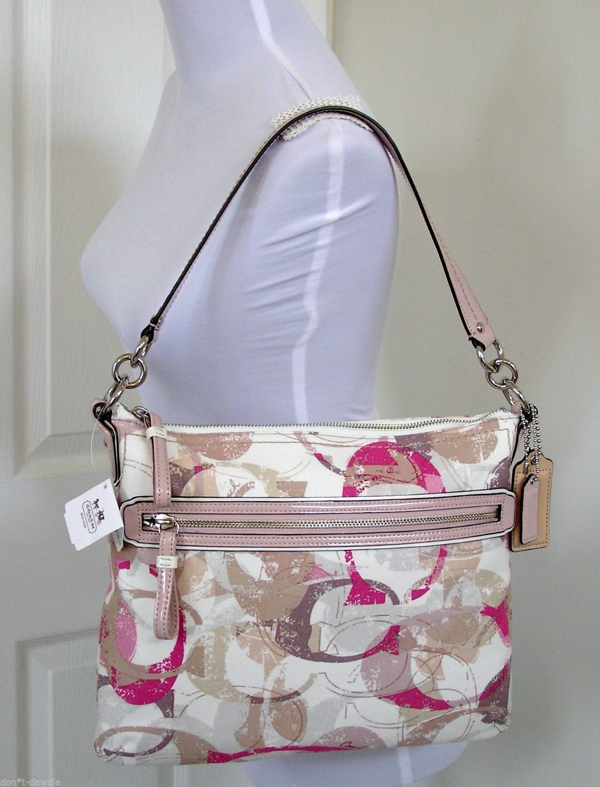 Primary image for NWT Coach Pink Poppy Stamped Neutral Shoulder Crossbody Hippie Bag 31143 Sig C