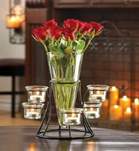 4 Black Candelabra Candle Holder With Vase Table Decor Wedding CENTERPIECES - $65.00
