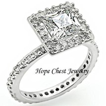 WOMEN'S SILVER TONE PRINCESS CUT 2.05 CT CUBIC ZIRCONIA ENGAGEMENT RING ... - $14.98
