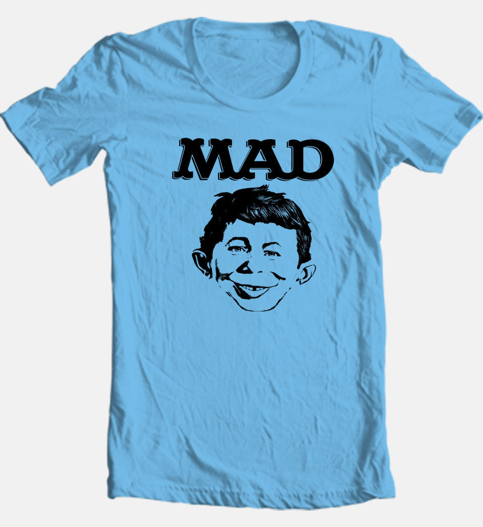 MAD T-shirt magazine distressed Alfred Newman 1980s cartoon cotton printed tee
