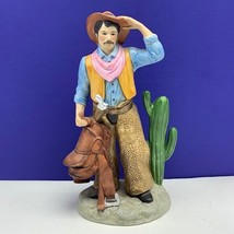 Homco cowboy western figurine statue sculpture vtg saddle chaps home interior - $63.36