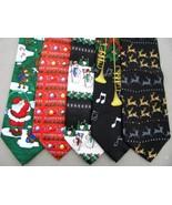 3 Xmas Christmas Santa Claus Snow Reindeer Gifts Silk Neck Ties Necktie Lot - $21.76