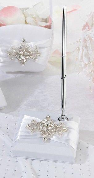 Jeweled Motif 5 Piece Wedding Accessory Set Guest Book Pen Garter Pillow Set