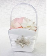 Jeweled Motif White Flower Basket Flower Girl W... - $27.98