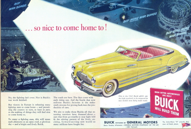 1945 print ad with yellow color 1942 Buick Convertible