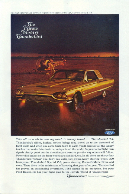 1965 Ford Thunderbird with Helicopter luxury travel print ad