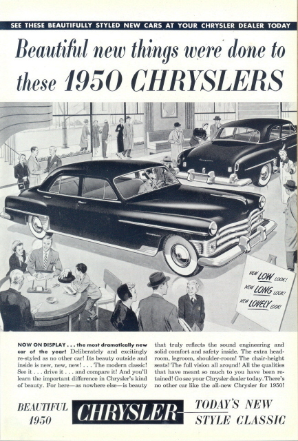 1950 Chrysler dealer showroom graphic art print ad