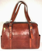 Fossil Vtg Large Brown Leather Womens Tote Bag Multi Pocket Distressed - $96.02