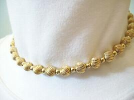 Napier Gold Plate Swirl Scored Beads Balls Choker Necklace Elegant Classic - $19.75