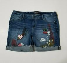 Torrid Womens 18 Premium Stretch Mid Bermuda Jean Shorts Patches Medium ... - $27.99