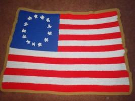 Handmade Crocheted American Flag Throw Wall Hanging 13 Stars Stripes Thr... - £24.36 GBP