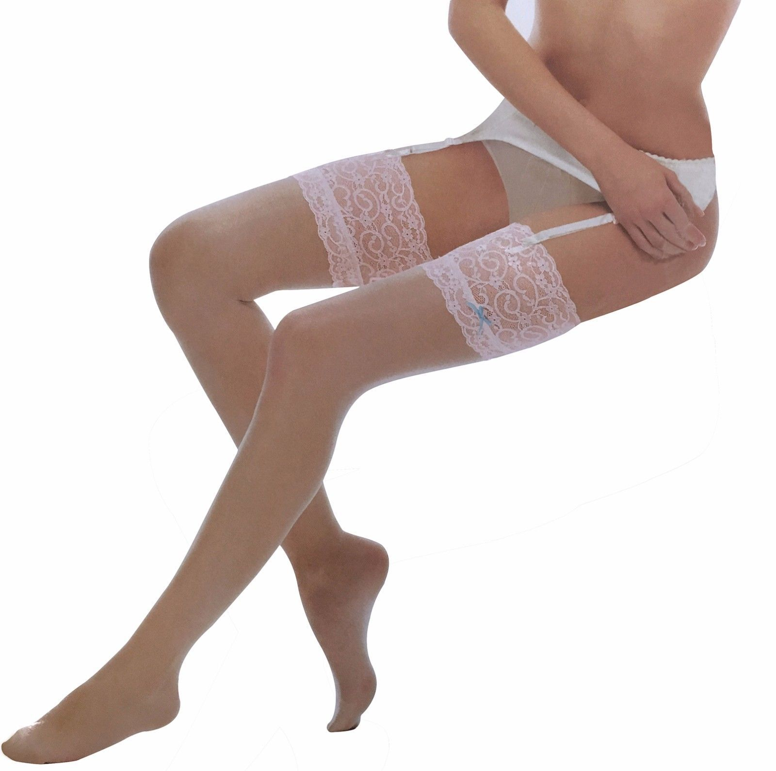 Ladies Sexy 10 Denier Thigh High Over the Knee Deep Lace Top Stockings with Bow