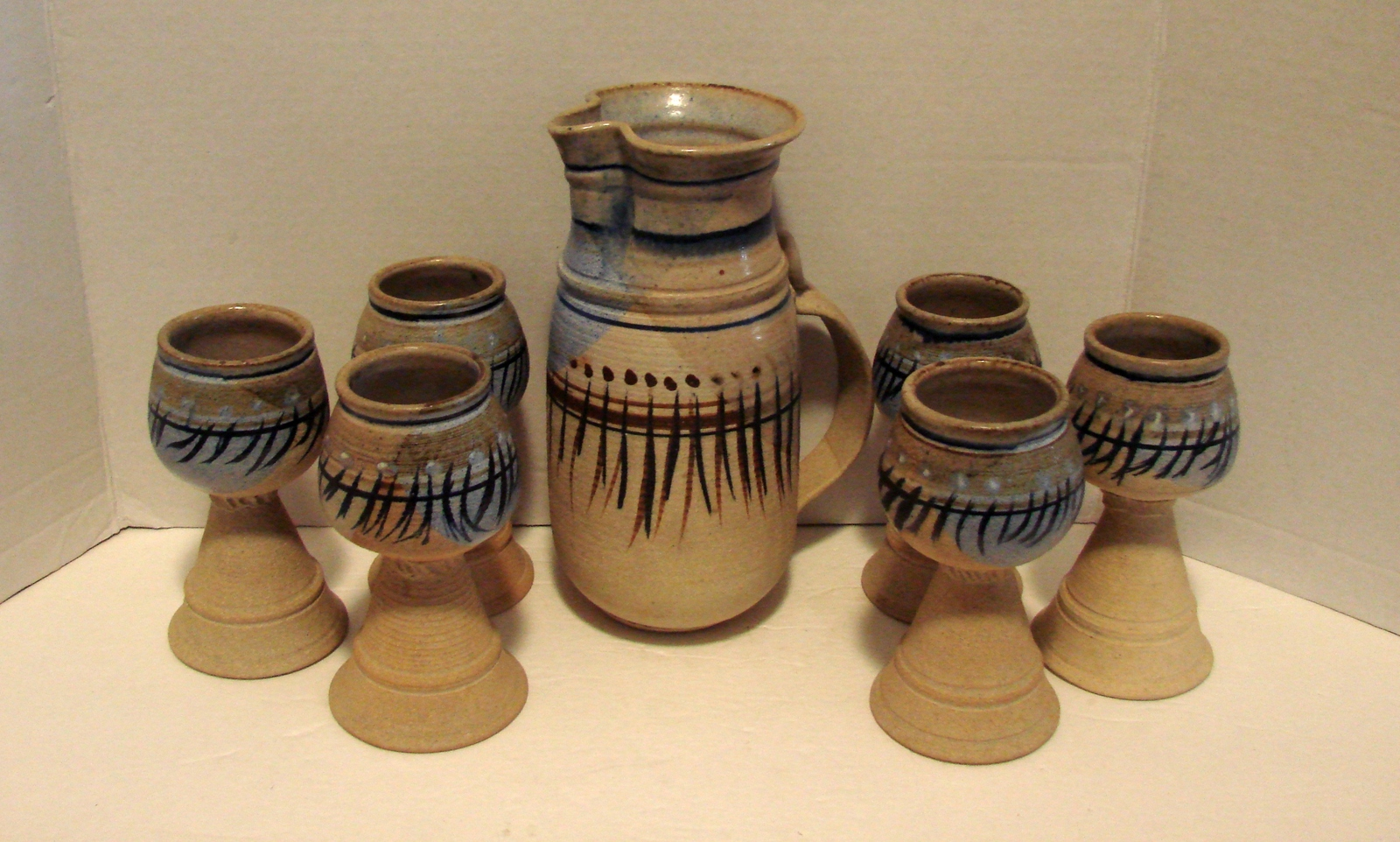 Native American Themed Stoneware Pitcher - Goblets Stunning! - $140.00
