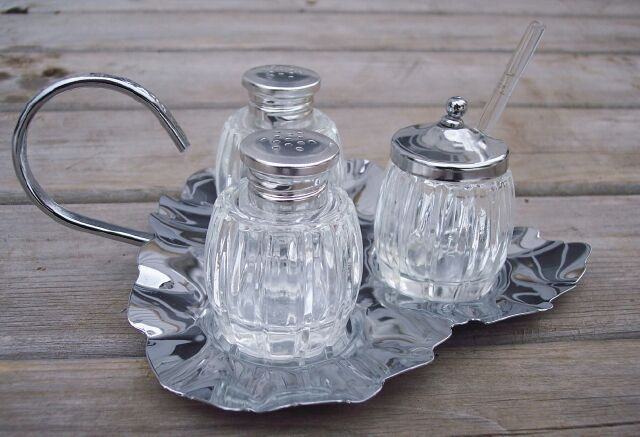 Retro 4 Pc Chrome & Pressed Glass Condiment Set