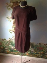 R&K Originals Petite Dress Brown Velvety Fabric Short Sleeve Size 14P - $28.71