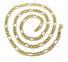 """18K GOLD FIGARO GOURMETTE CHAIN 4 MM WIDTH, 20"""", ALTERNATE 3+1 NECKLACE  image 1"""