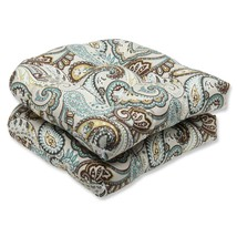 "CC Outdoor Living 2 Paisley Light Blue Brown Patio Wicker Chair Cushion 19"" - €67,26 EUR"